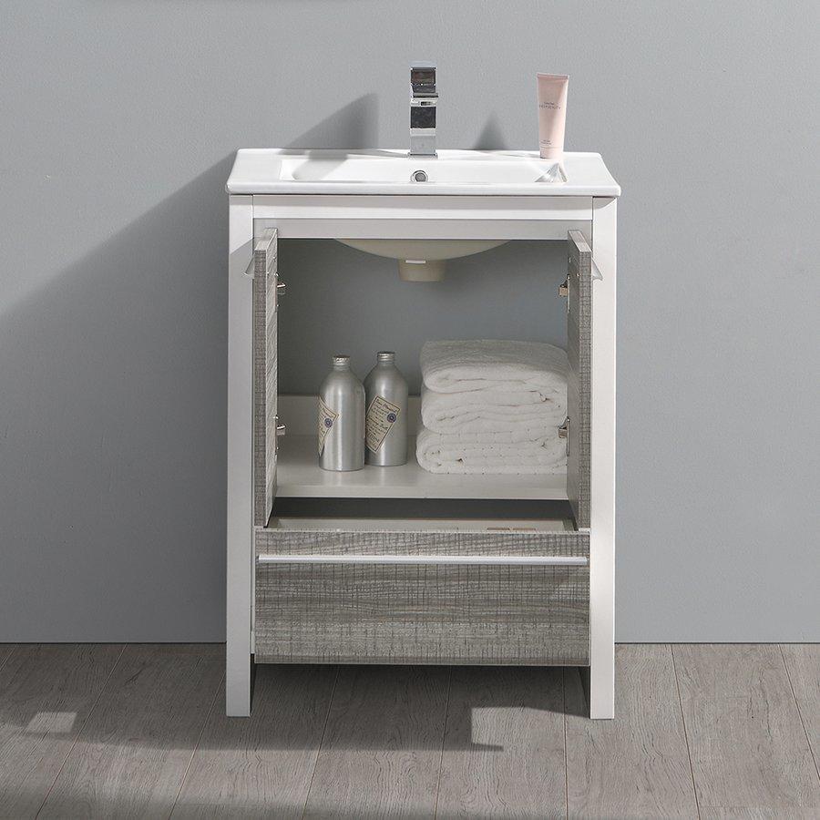 """Fresca Allier Rio 24"""" Ash Gray Modern Bathroom Cabinet w/ Sink FCB8125HA-I"""