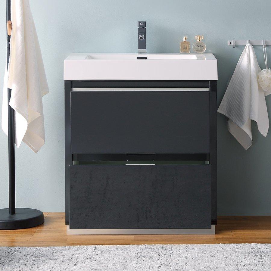 "Fresca Valencia 30"" Dark Slate Gray Free Standing Modern Bathroom Vanity FCB8430GG-I"