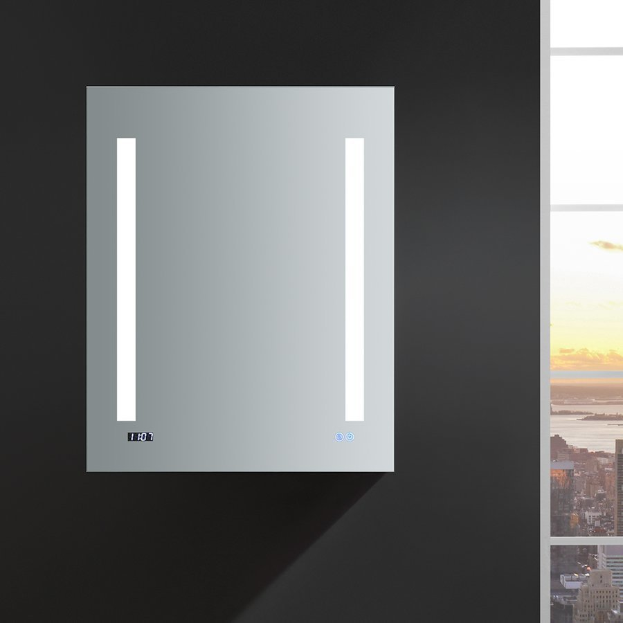 "Fresca Tiempo 24"" Wide x 30"" Tall Bathroom Medicine Cabinet w/ LED Lighting & Defogger FMC012430-L"