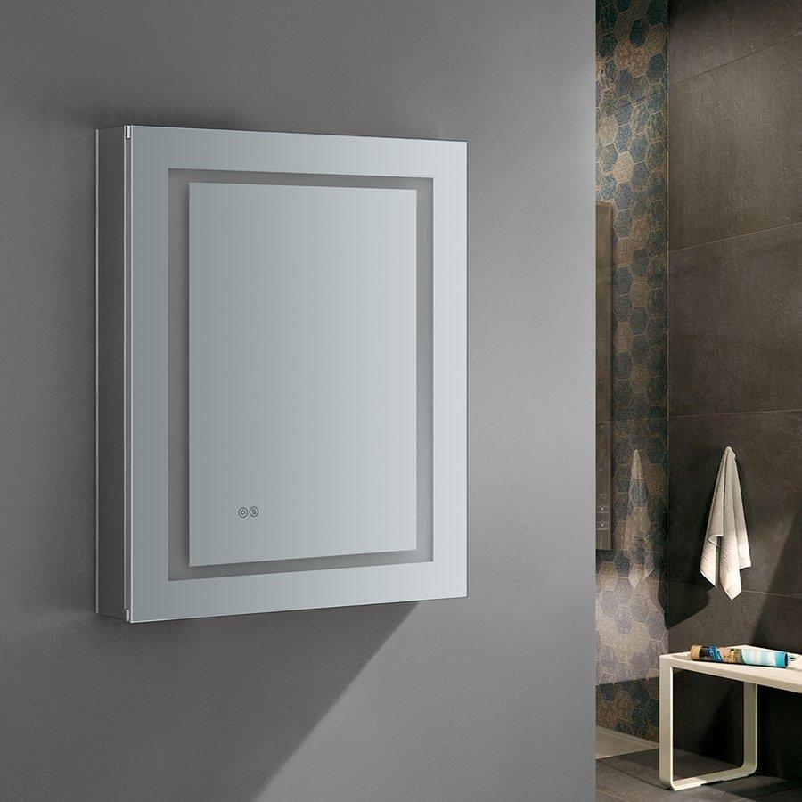 """Fresca Spazio 24"""" Wide x 30"""" Tall Bathroom Medicine Cabinet w/ LED Lighting & Defogger FMC022430-R"""