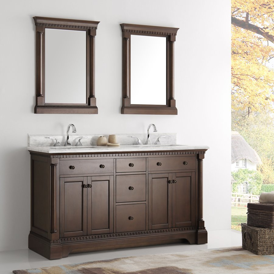 "Fresca Kingston 61"" Antique Coffee Double Sink Traditional Bathroom Vanity w/ Mirrors FVN2260AC"