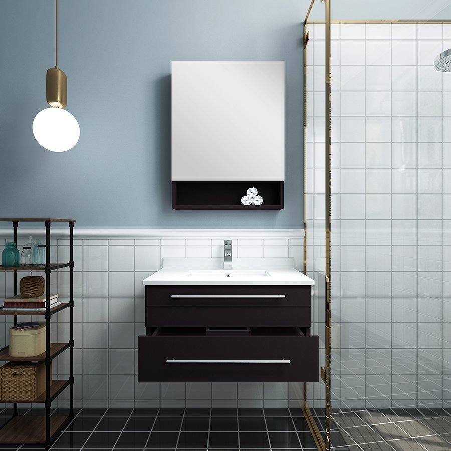 Fresca 30 Inch Lucera Single Sink Floating Vanity With Top Undermount Sink And Medicine Cabinet