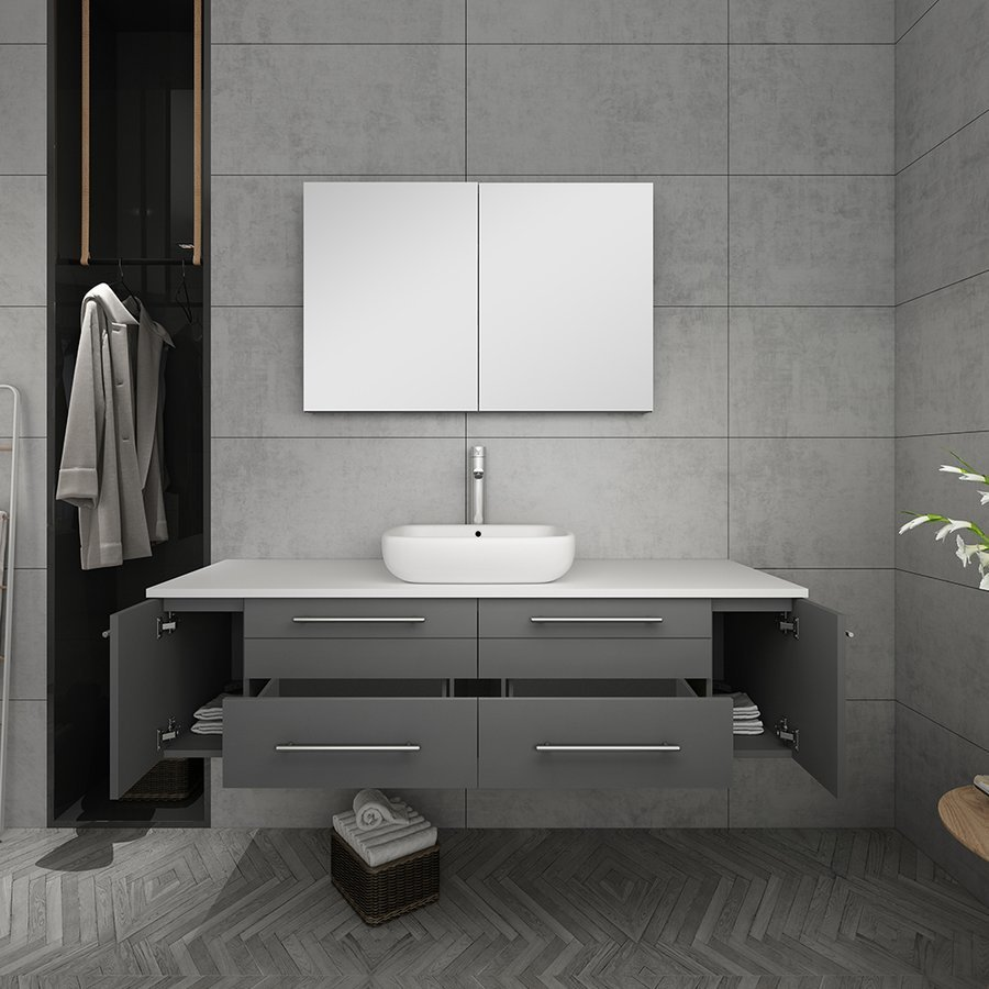 Fresca 60 Inch Lucera Single Sink Floating Vanity With Top Vessel