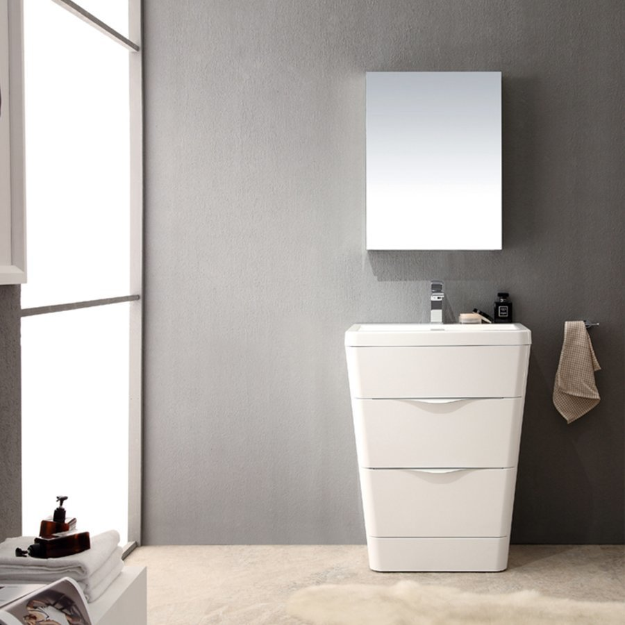 Fresca Milano 26 Glossy White Modern Bathroom Vanity W Medicine Cabinet Fvn8525wh Keats Castle