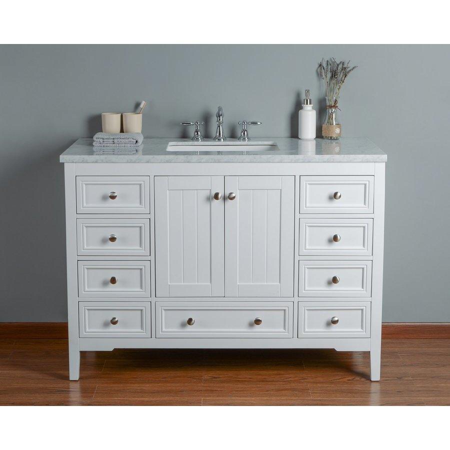 Stufurhome 48 inch New Yorker Single Sink Vanity - Marble Carrara White Top - White HD-1616W-48-CR