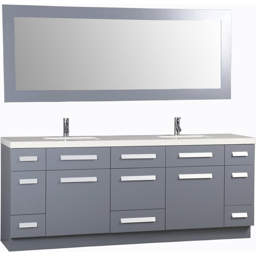 Design Element 84 Inch Moscony Double Sink Vanity Set With Mirror