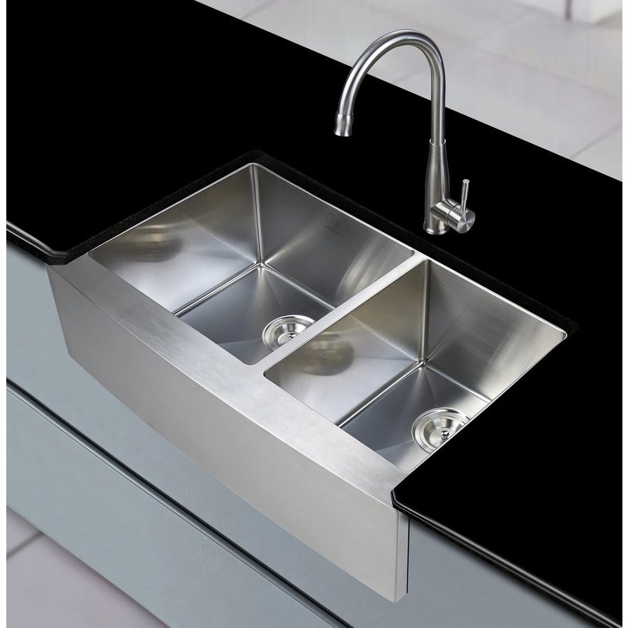 "Stufurhome 33"" Apron Front/Farmhouse Double Bowl Kitchen Sink - Stainless Steel NW-3321D"