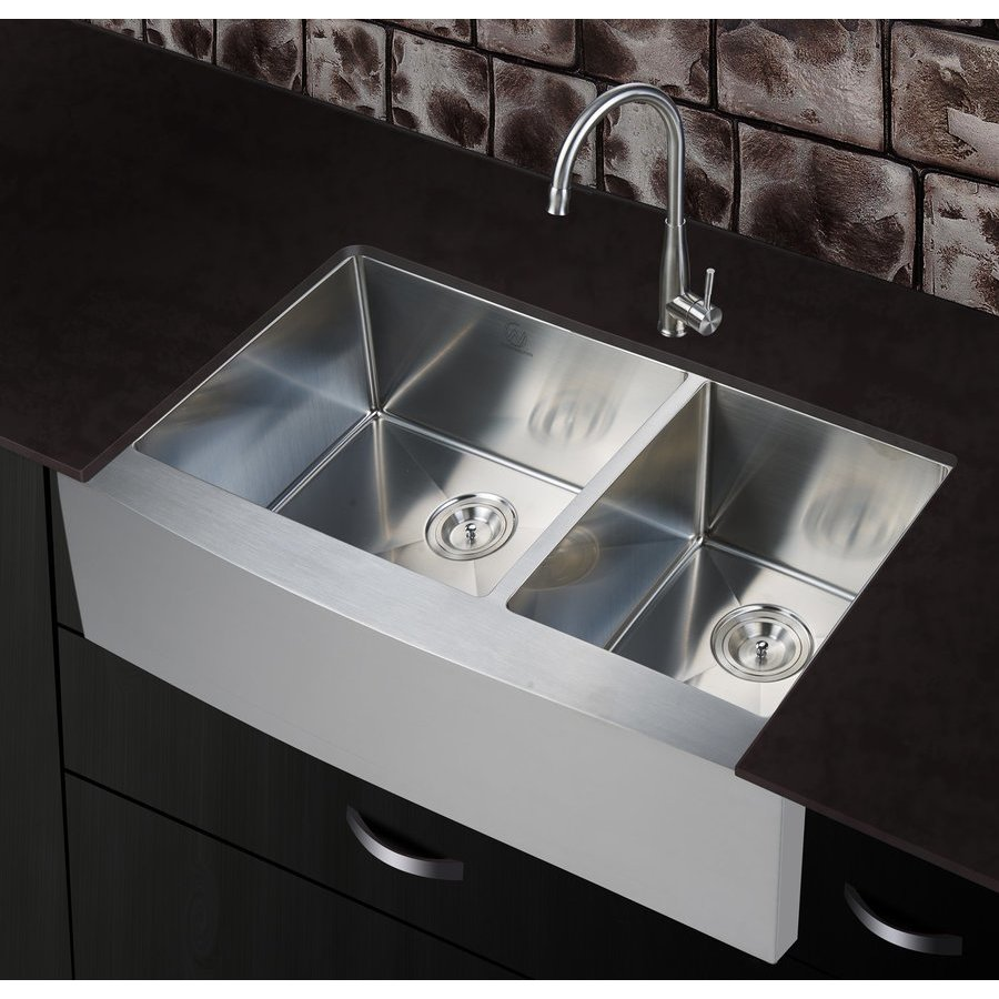 "Stufurhome 36"" Apron Front/Farmhouse Double Bowl Kitchen Sink - Stainless Steel NW-3621D"