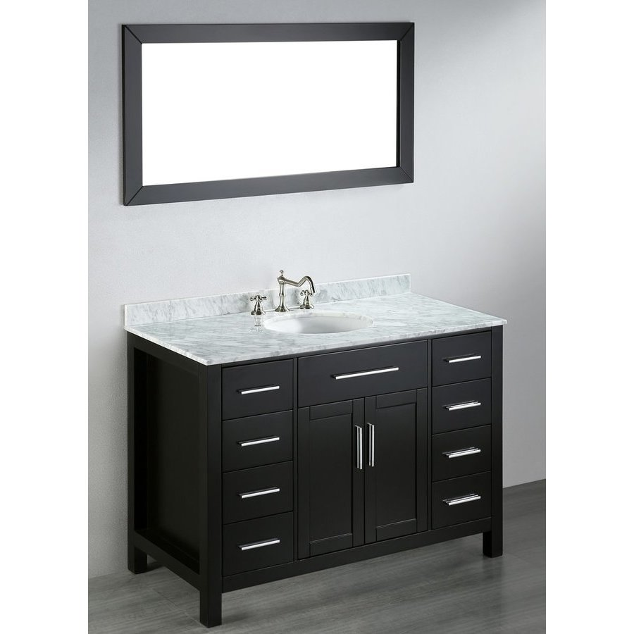 Bosconi 47'' SB252-3 Single Vanity w/ White Carrara Top-Black SB-252-3