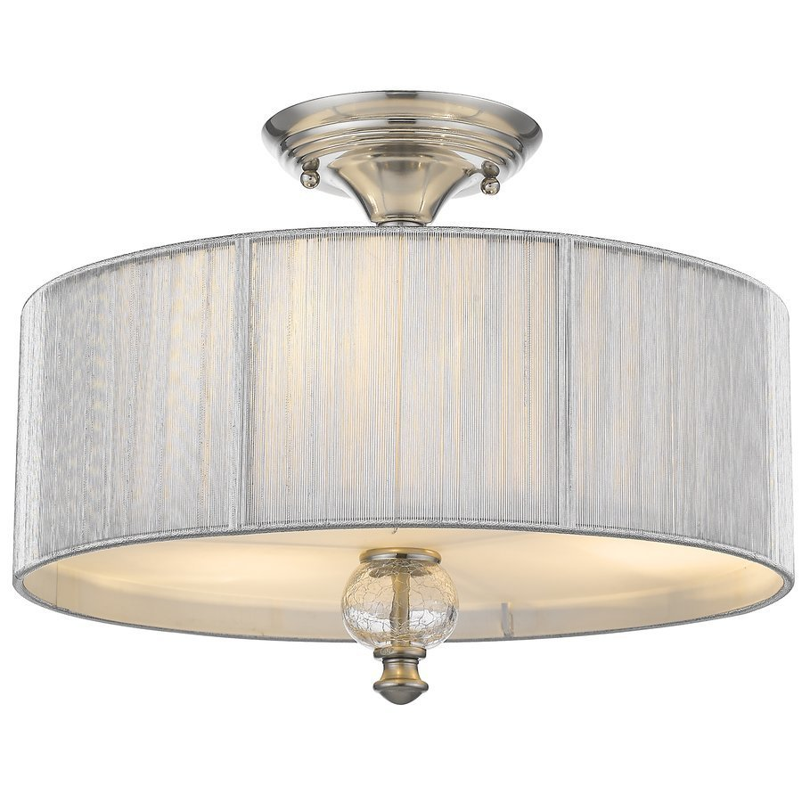 Siret Sansa 2-Light Semi-Flushmount with Silver Shade & Crackled Glass -Brushed Nickel ST1036-BN