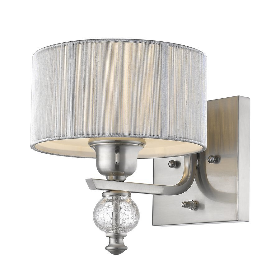 Siret Sansa 1-Light Sconce with Silver Shade & Crackled Glass - Brushed Nickel ST1038-BN