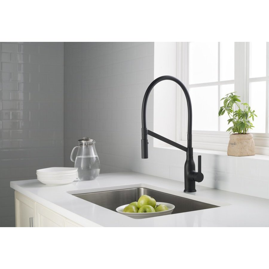 Stufurhome Vallant Modern/Contemporary Single Hole Kitchen Faucet - Matte Black ST1100MB