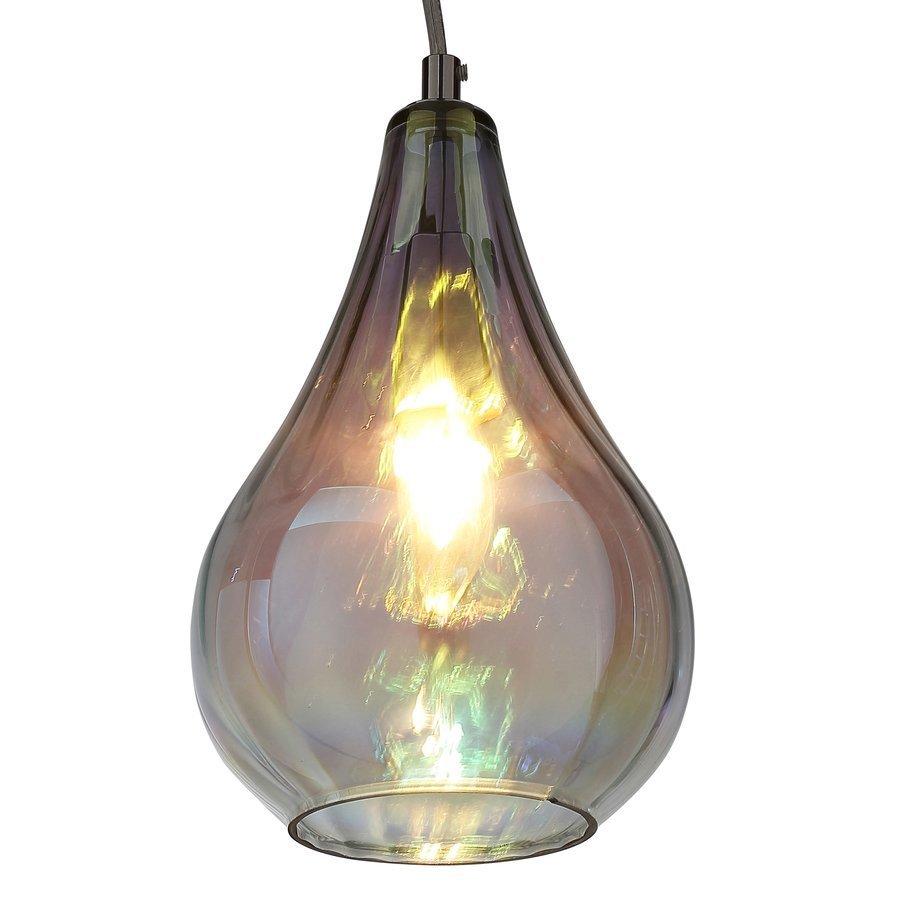 Siret Bohm 1-Light LED Pendant with Iridescent Glass Shade - Chrome ST901006-MT