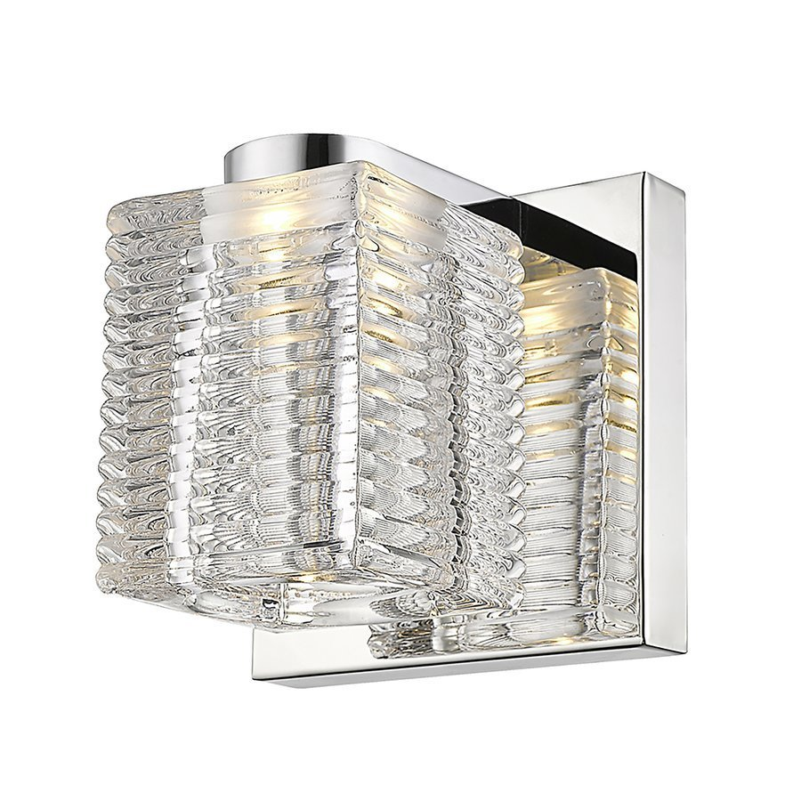 Siret Lawson 1-Light LED Bath Sconce with Stacked Glass Shade - Mirror Stainless Steel ST901021-CH