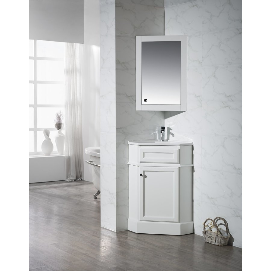 Stufurhome 26.5 inch Hampton Single Sink Vanity with Medicine Cabinet - Marble White Top TY-415PW