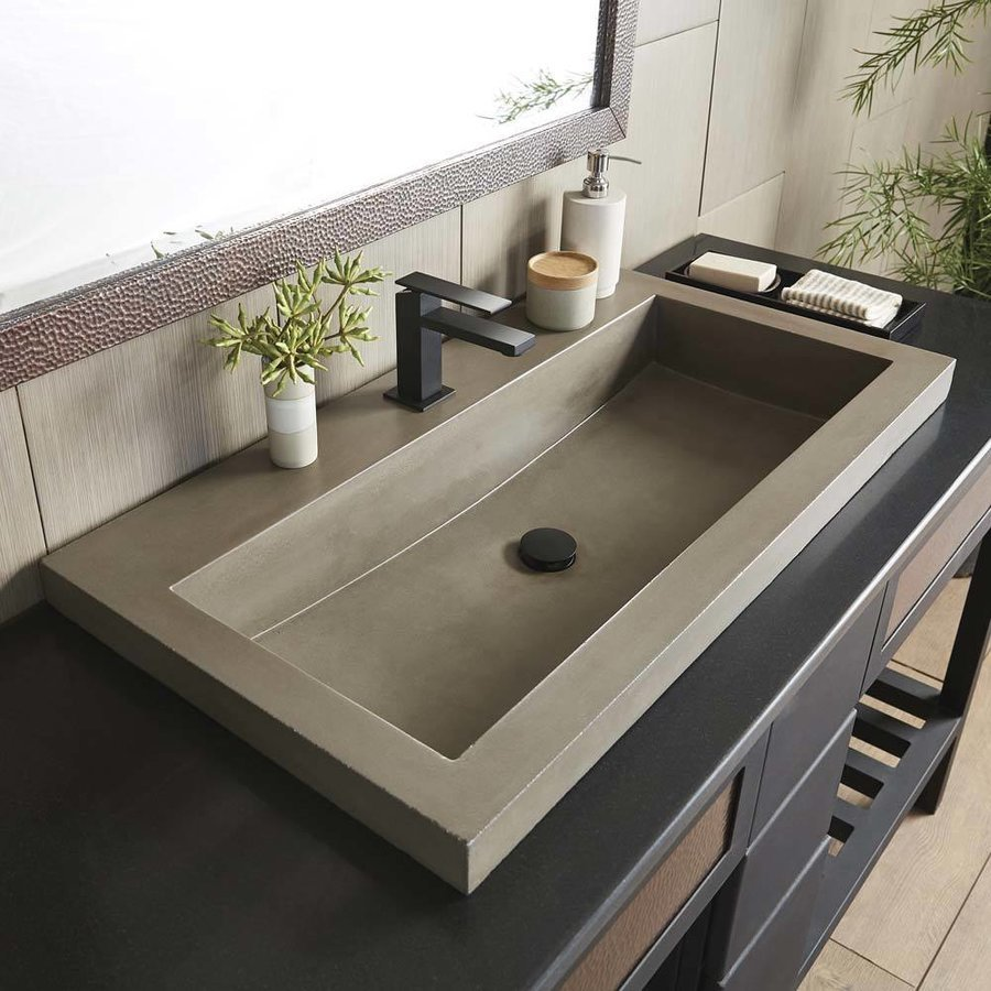 Native Trails 36 Inch Trough Drop In Bathroom Sink With 2 Faucet Holes Earth Nsl3619 E Keats Castle