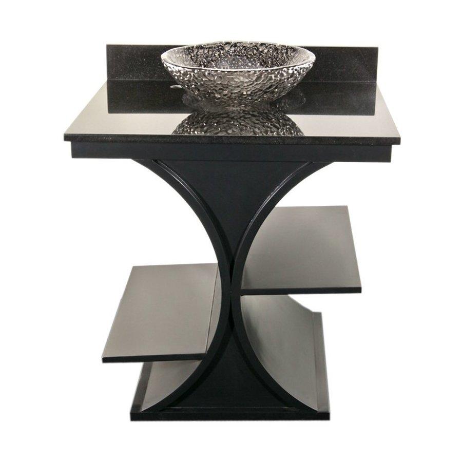 JSG Oceana 30 Inch Cruz Vanity & Granite Top w/ Pebble Vessel Sink- Black / Black Top VAN-PKG-CRZ-2