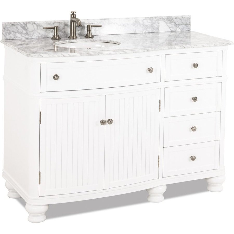 """Elements 48"""" Compton White Transitional Vanity - w/Marble Top VAN106-48-T-MW"""