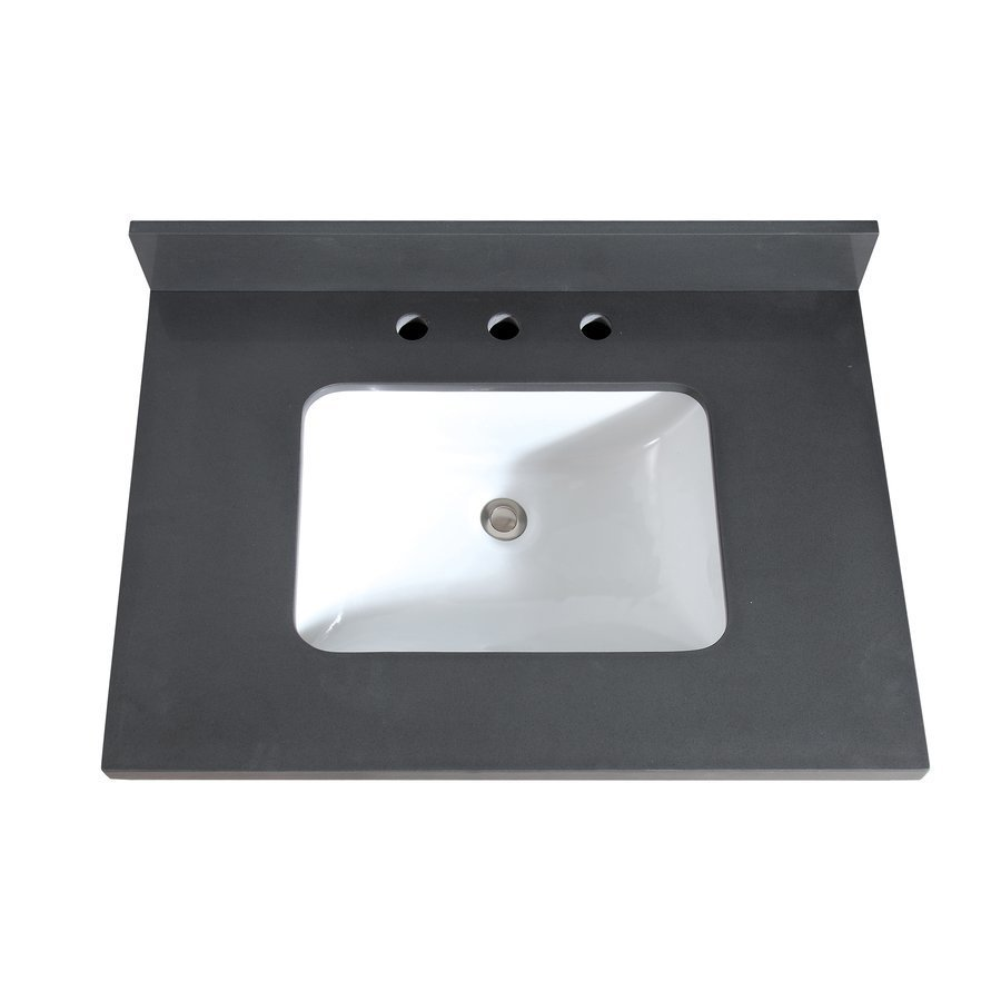 Avanity 31 Inch Gray Quartz Vanity Top With Rectangular Undermount