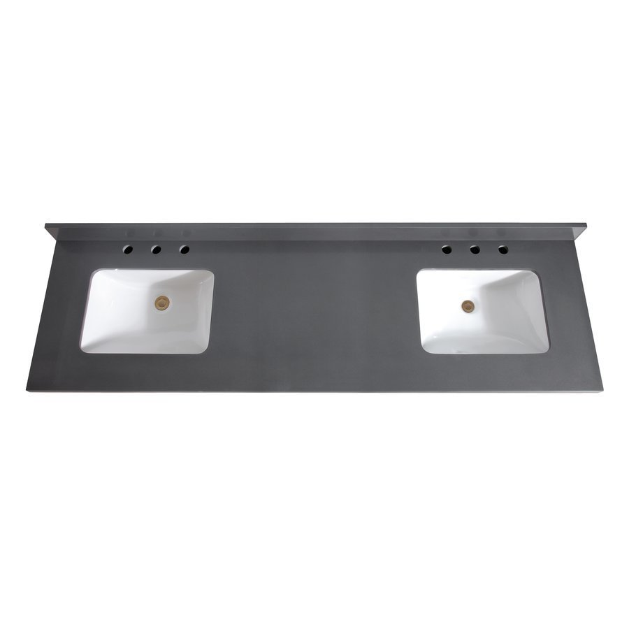 Avanity 73 Inch Gray Quartz Vanity Top with Dual Rectangular Undermount Sinks VUT73GQ-R