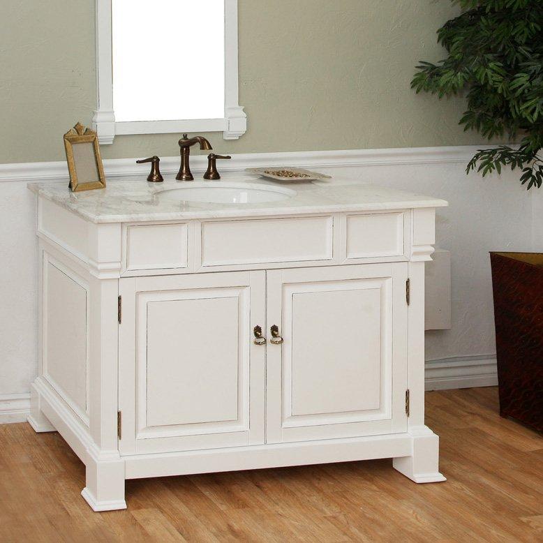 "Bellaterra 42"" Single Sink Bathroom Vanity - White/White Top 205042-WH"