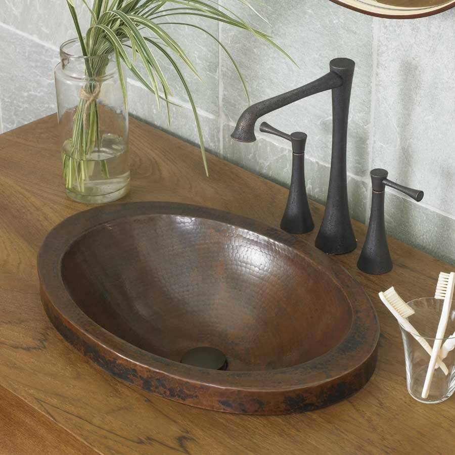 "Native Trails 21"" x 14"" Hibiscus Drop-In Bathroom Sink - Antique Copper CPS243"
