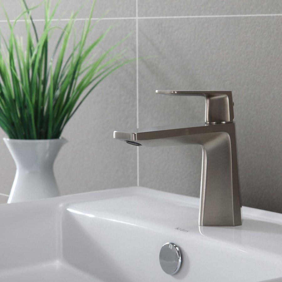 Kraus Aplos Sonus Single Hole Bathroom Faucet - Brushed Nickel KEF ...