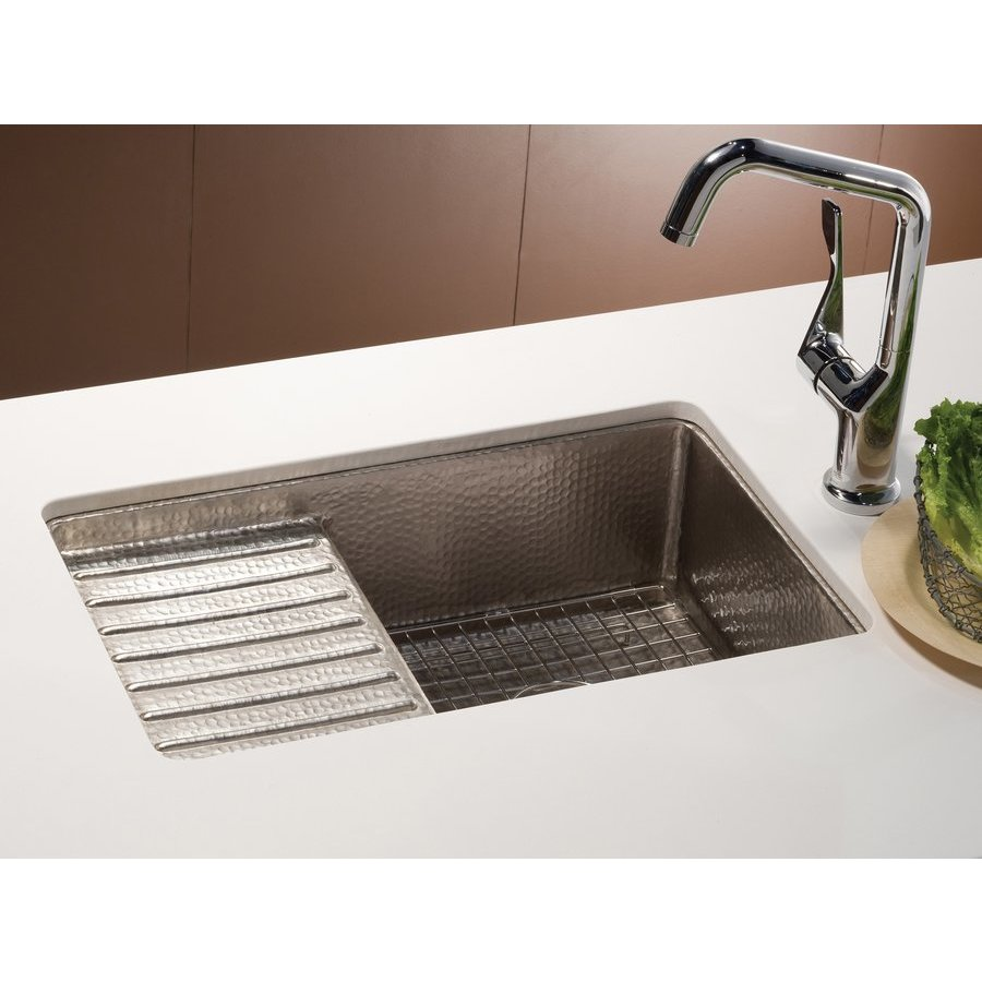 "Native Trails 22"" x 13"" Cantina Pro Undermount Bar Sink w/Prep Deck-Nickel CPS533"