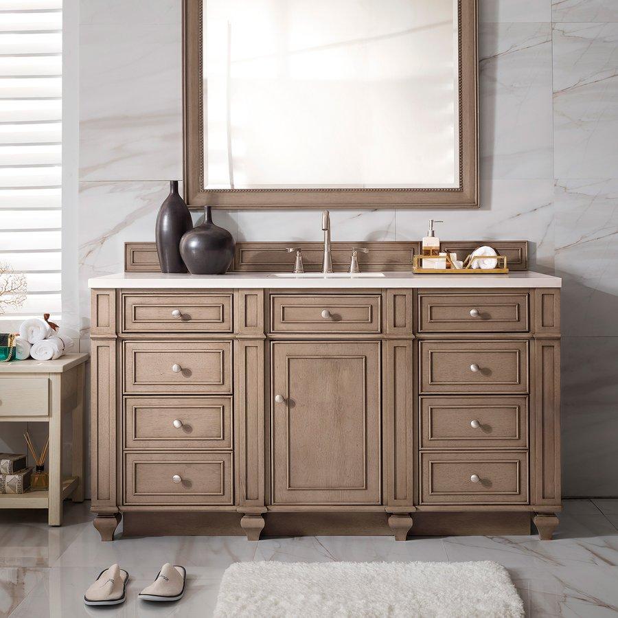"James Martin 60"" Bristol Single Cabinet Only w/o Top - White Wash Walnut 157-V60S-WW"