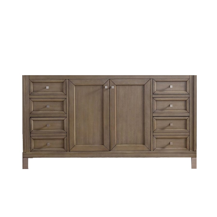 "James Martin 60"" Chicago Double Cabinet Only w/o Top -White Washed Walnut 305-V60D-WWW"