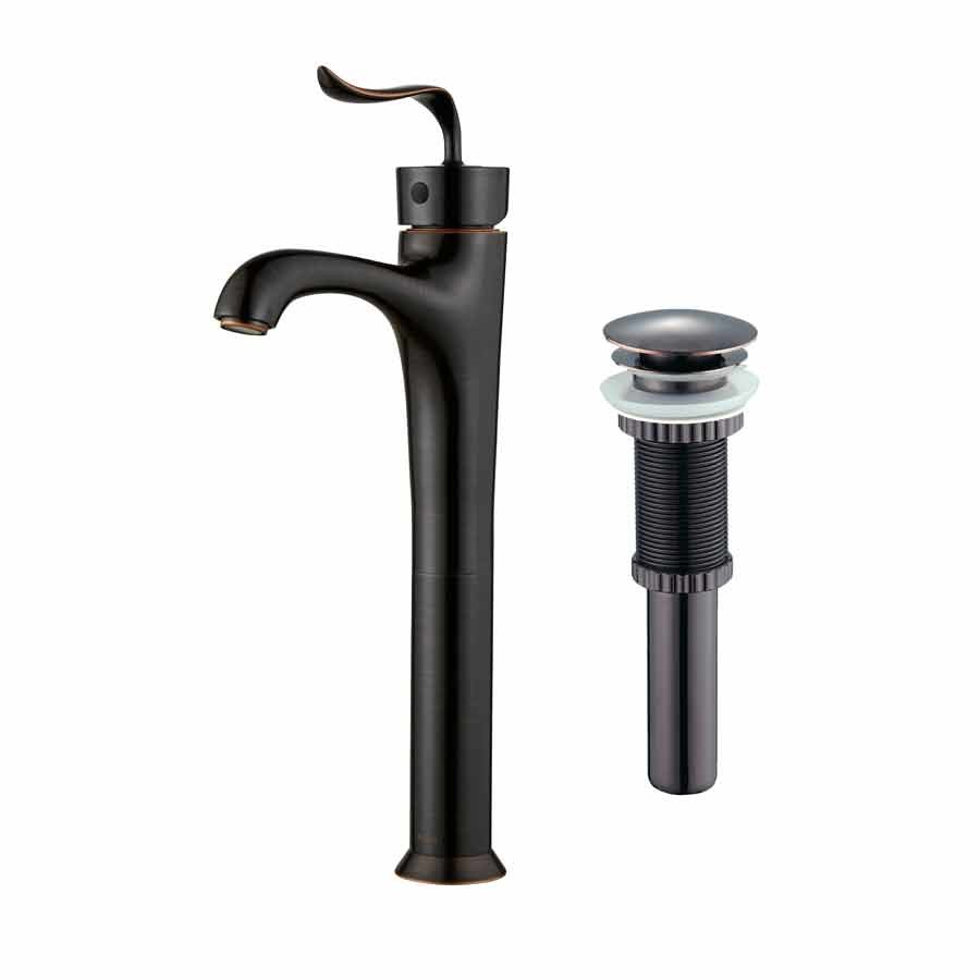 Kraus Coda One Handle Vessel Bathroom Faucet w/ Drain-OilRubBronze FVS-13800-PU-10ORB