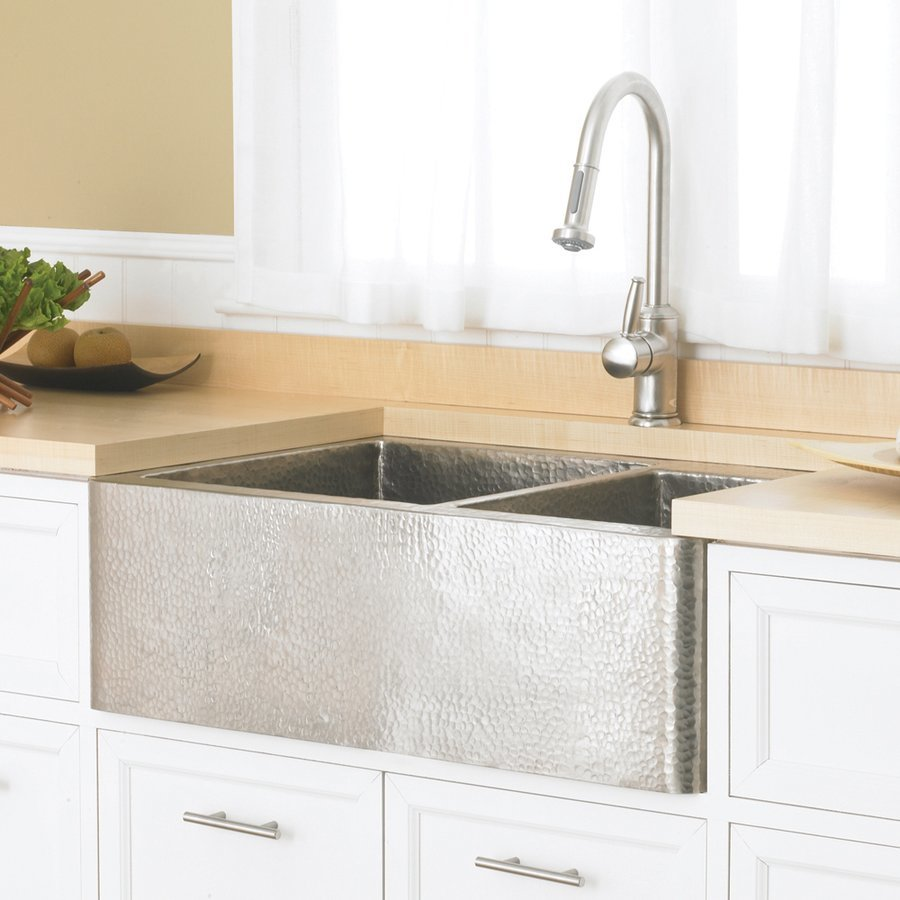 "Native Trails 33"" x 22"" Farmhouse Apron Kitchen Sink - Brushed Nickel CPK576"