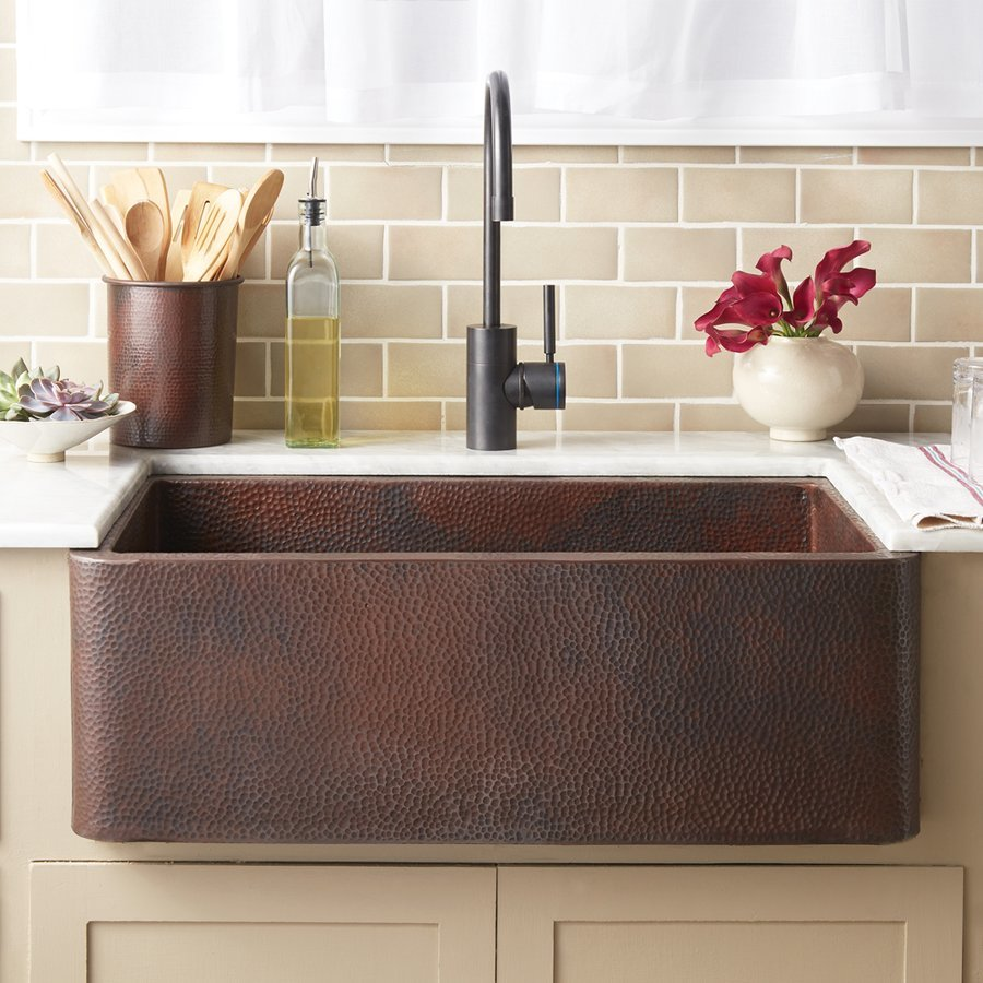 "Native Trails 30"" x 18"" Farmhouse Kitchen Sink - Antique Copper CPK294"