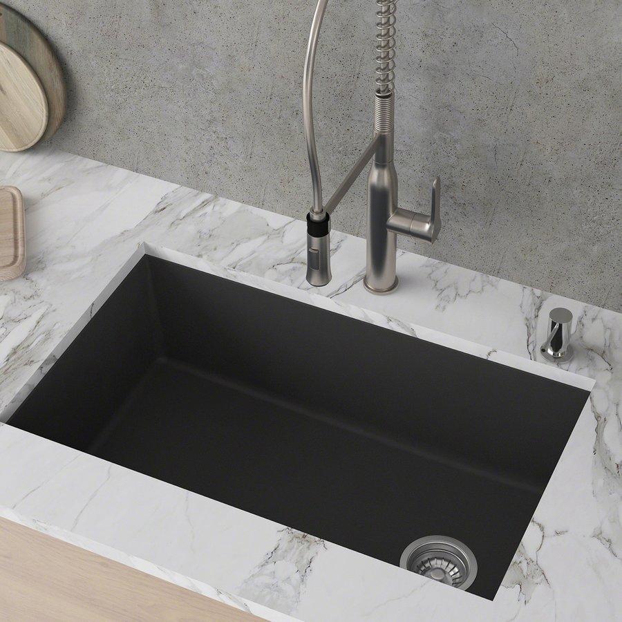 """Kraus Fortenza 32"""" Undermount Single Bowl Kitchen Sink-Black Gran. KGU-55BLACK"""