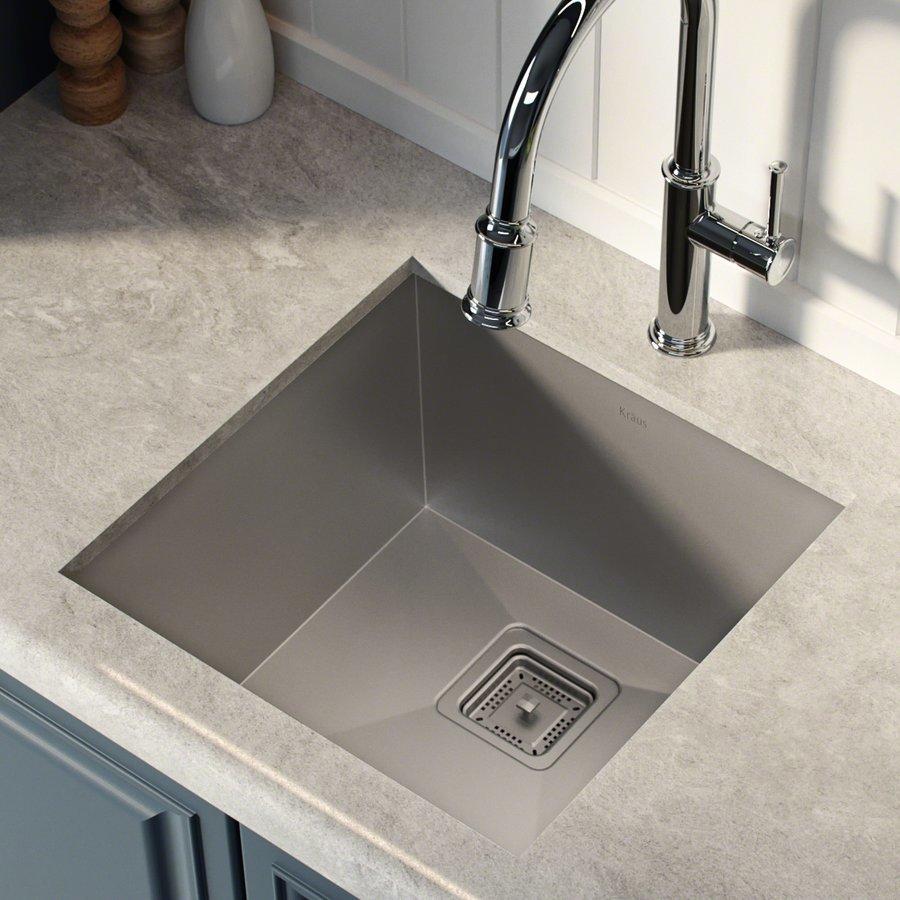 "Kraus 18"" Undermount Single Bowl Bar Sink-Stainless Steel KHU19"