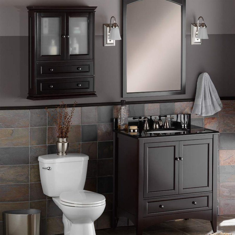 diamond webster in cabinet espresso w h wall at mink freshfit lowes com shop x pin d bathroom
