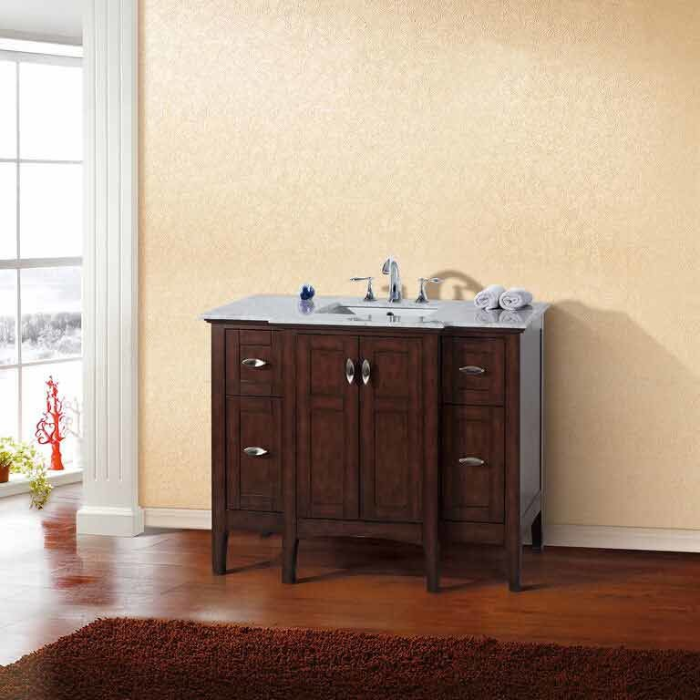 "Bellaterra 45"" Single Sink Bathroom Vanity - Sable Walnut/White Top 7614-SW-WH"