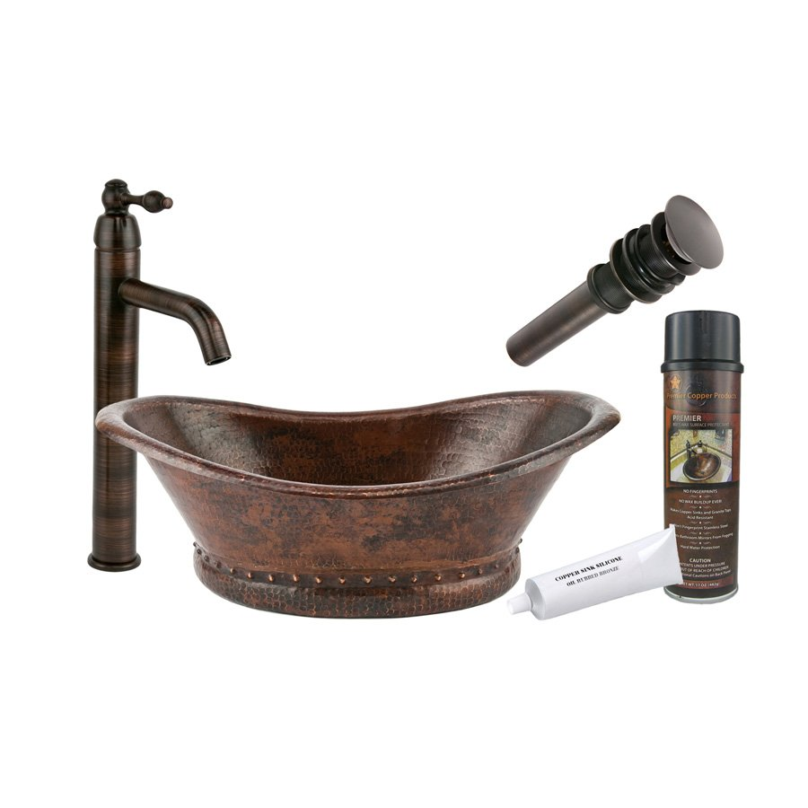 Premier copper products 20 x 13 oval vessel sink package for Bath sink and toilet packages