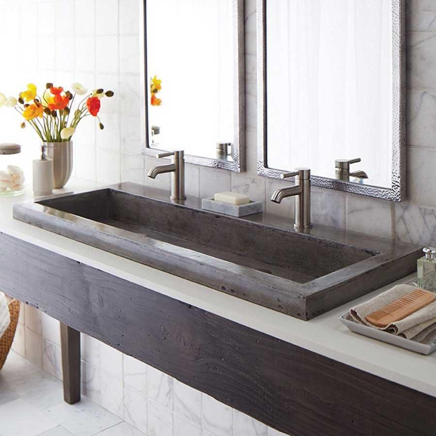 """Native Trails 48"""" x 19"""" Trough Drop-In Bathroom Sink - Ash NSL4819-A"""