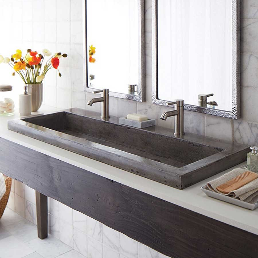 Native Trails 48 Quot X 19 Quot Trough Drop In Bathroom Sink Ash