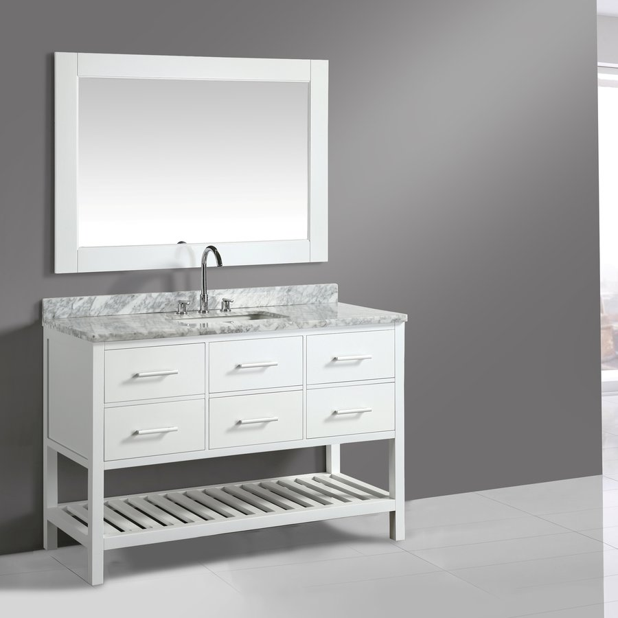 "Design Element 54"" London Single Vanity w/ White Carrera Top - Gray DEC077H-W-WT"