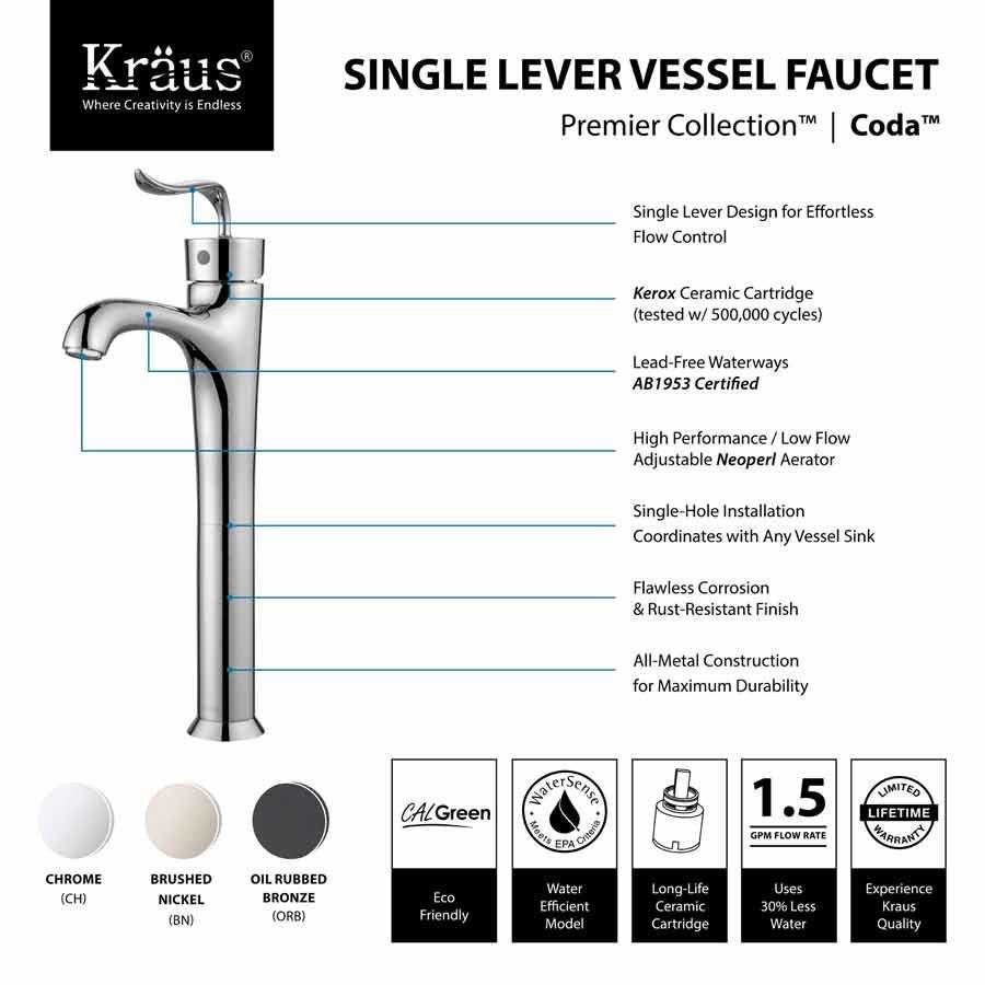 Kraus Coda One Handle Vessel Bathroom Faucet w/ Drain - Chrome FVS ...