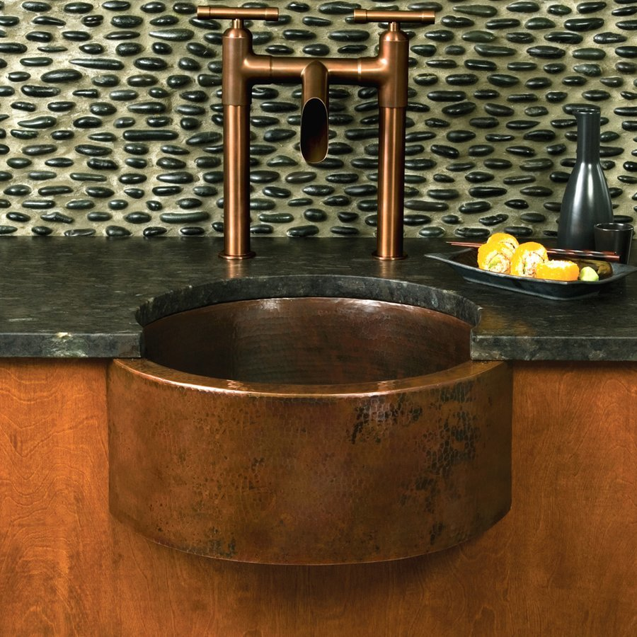 "Native Trails 19"" Round Fiesta Undermount Bar Sink - Antique Copper CPS214"