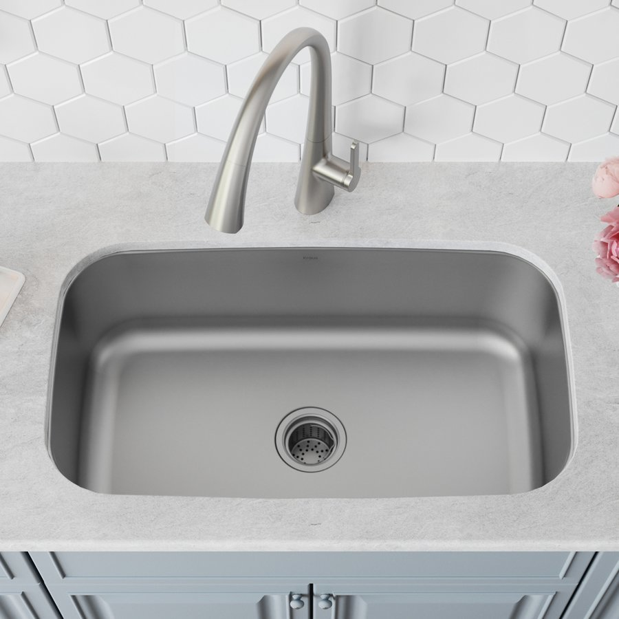 "Kraus 31"" Undermount Single Bowl Kitchen Sink-Stainless Steel KBU14"