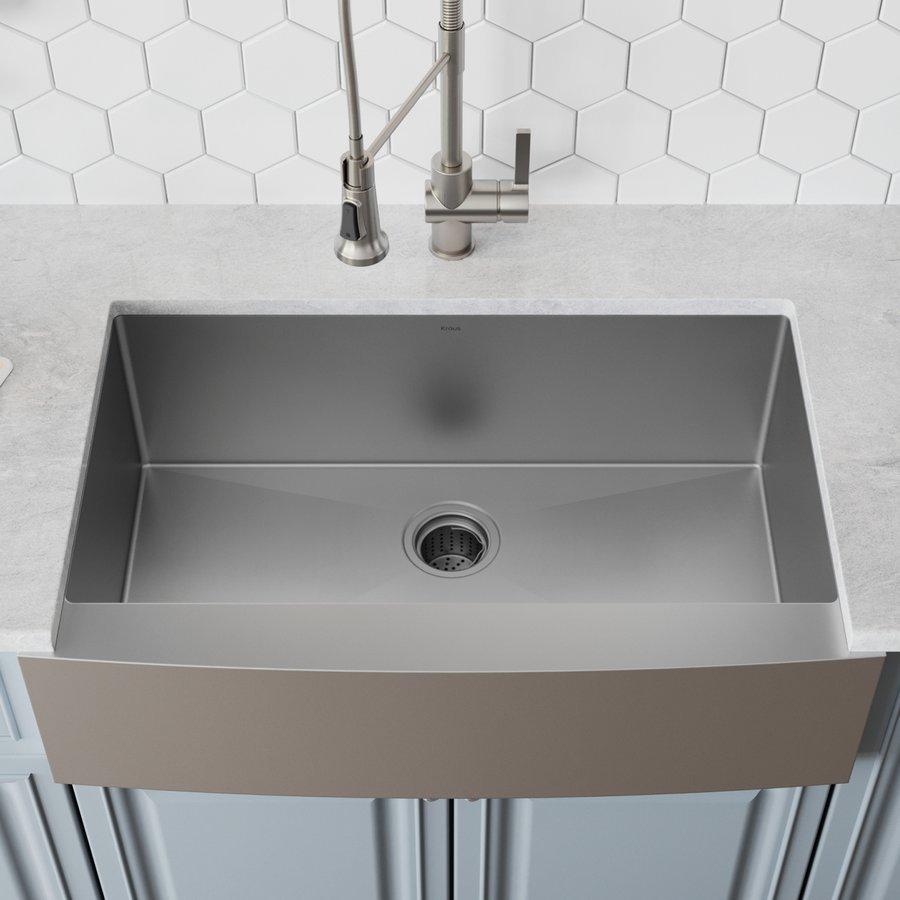 "Kraus 33"" Farmhouse Single Bowl Kitchen Sink-Stainless Steel KHF200-33"