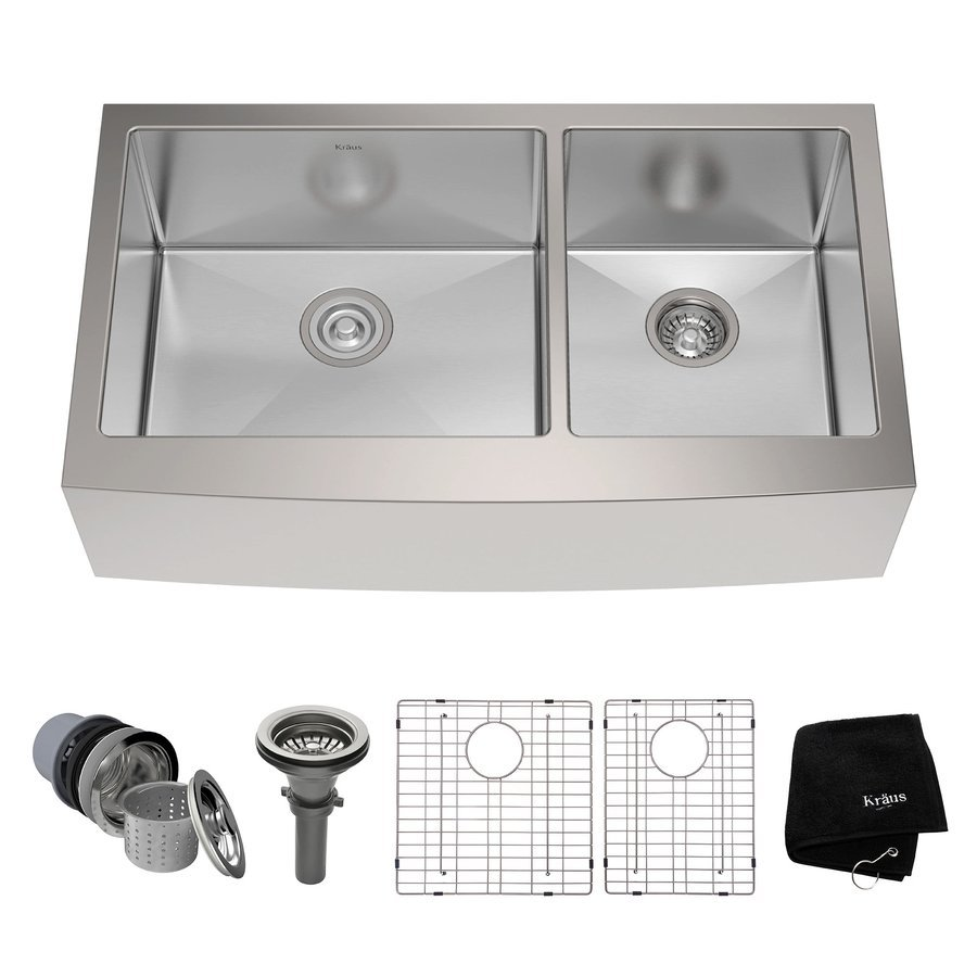"Kraus 36"" Farmhouse Double Bowl Kitchen Sink-Stainless Steel KHF203-36"
