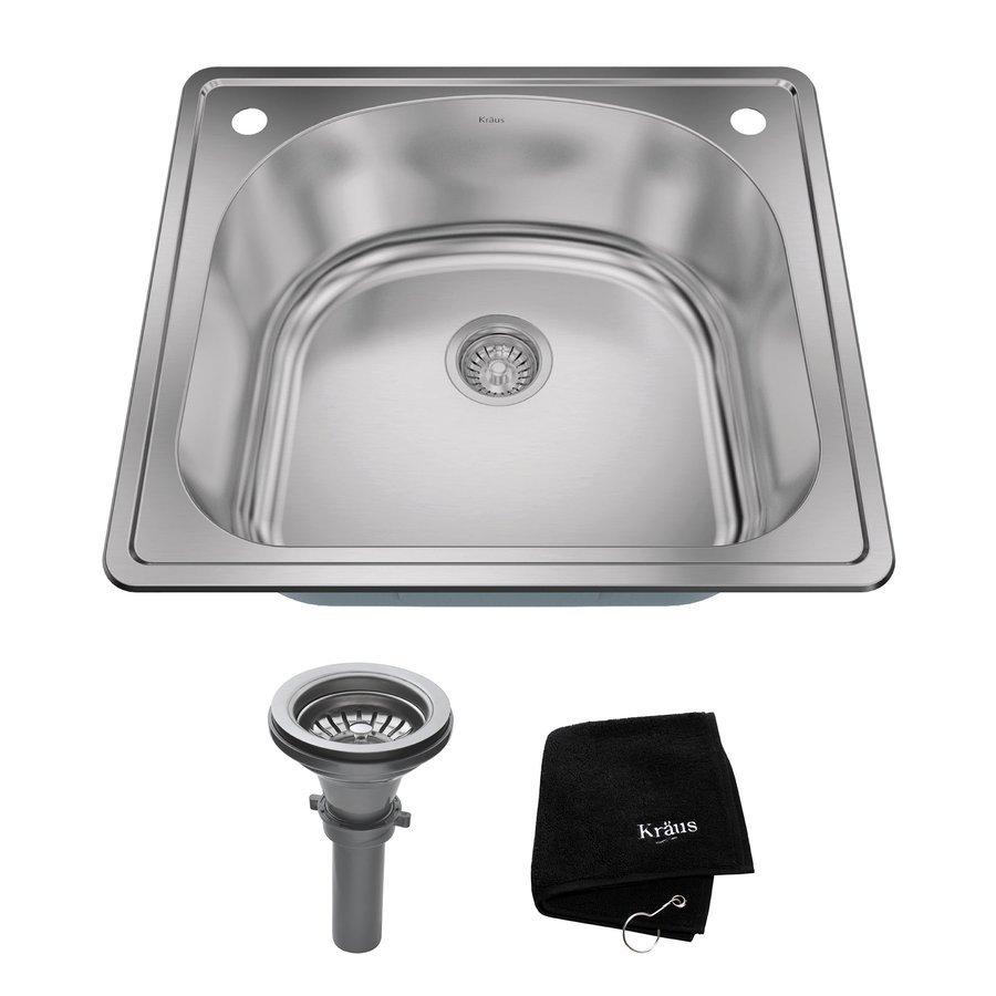 "Kraus 25"" Top Mount Single Bowl Kitchen Sink-Stainless Steel KTM24"