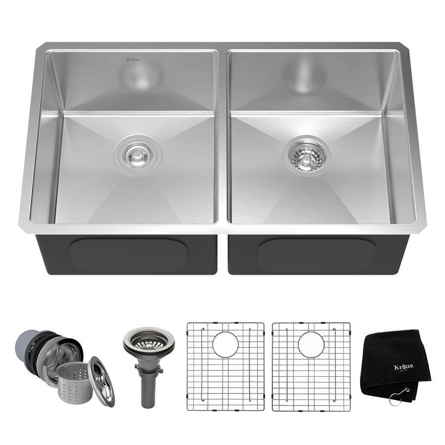 """Kraus 33"""" Undermount Double Bowl Kitchen Sink-Stainless Steel KHU102-33"""