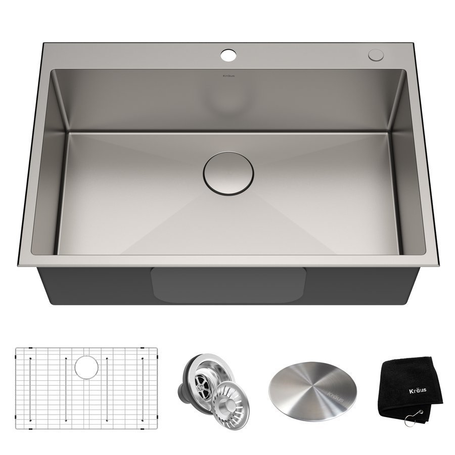 Kraus Standart PRO 33 Inch Length 22 Inch Width Rectangular Kitchen Sink - Satin KHT300-33