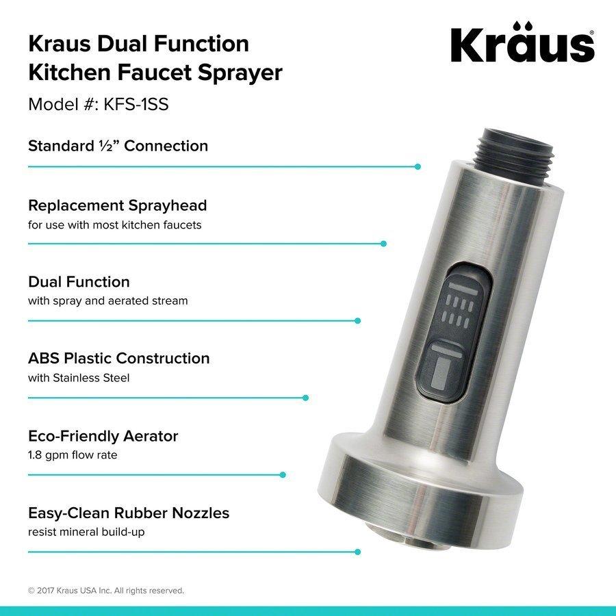 Kraus Dual Function Kitchen Faucet Sprayer-Stainless Steel KFS-1SS